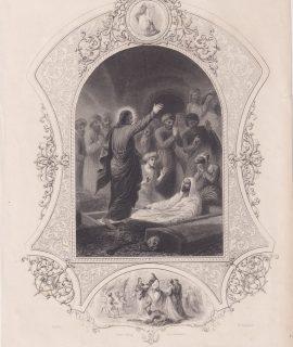 Antique Engraving Print, Christ Raising Lazarus, 1830 ca.