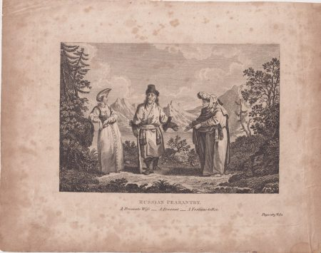 Antique Engraving Print, Russian Peasantry, 1770