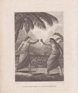 Antique Engraving print, A boxing match at Hapae, 1793 ca.