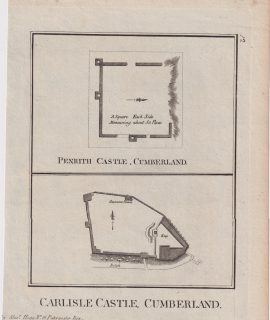 Antique Engraving Plan, Penrith Castle; Carlisle Caste, Cumberland, 1786