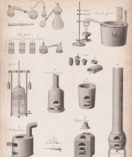 Antique Engraving Print, Chemistry, 1810 ca.
