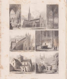 Antique Print, Salisbury, Winchester, 1851