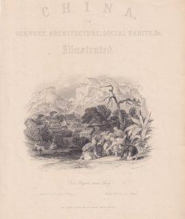 Antique Print, China, Scenery, Architecture, Social Habits, &c., 1858
