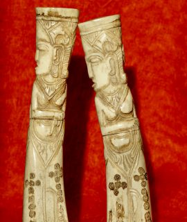 2 Antique Handcarved Shaman Buffalo Bone Tube Containers, Indonesia